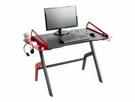 Bureau gamer - cadre métallique - noir/rouge