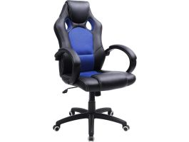 Chaise de bureau gaming - bleu/noir