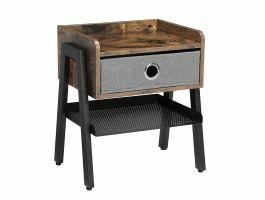 Table de chevet - aspect industriel - avec tiroir - 46x52,5x25,5 cm - vintage brun