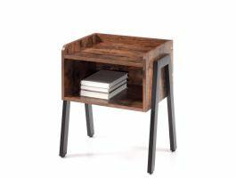 Table de chevet - look vintage - 46x52x35 cm - noir/brun clair