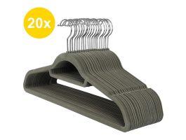 Cintres antidérapants - pliables - crochet rotatif - 20 pièces - gris