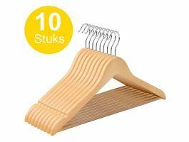 Cintres - crochet rotatif - 10 pièces - bois massif - érable de qualité - marron