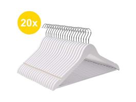 Cintres - crochet rotatif - 20 pièces - bois massif - érable de qualité - blanc