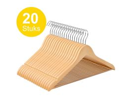 Cintres - crochet rotatif - 20 pièces - bois bois massif - érable de qualité - marron