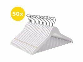 Cintres premium - crochet rotatif - bois massif - 50 pièces - blanc