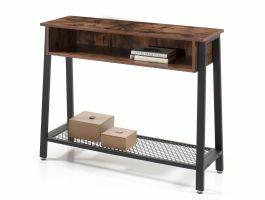 Table console haute - vintage - avec rangement - 100x80x35 cm - brun/noir