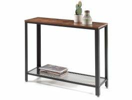 Table console haute - look industriel - 101,5x80x35 cm - brun vintage