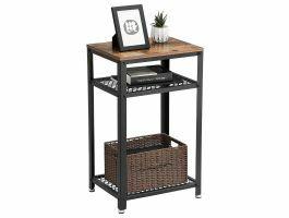Table console haute - look industriel - 45x75x35 cm - brun/noir