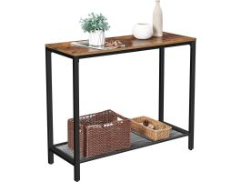 Table console haute - look vintage - 100x80x35 cm - brun/noir