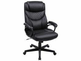 Chaise design de bureau de direction de luxe - ergonomique - cuir artificiel - noir