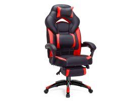 Fauteuil gamer ergonomique avec repose-pieds rouge/noir
