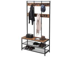 Porte-manteaux XL - look industriel - 12 crochets - 100x186x40 cm - brun/noir
