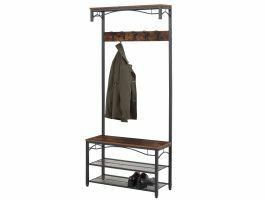 Porte-manteaux - look industriel - 5 crochets - 80x179x32 cm - vintage brun
