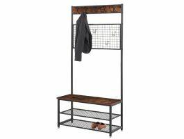 Porte-manteaux polyvalent - vintage - 92x187x42 cm - brun/noir