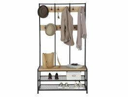 Porte-manteaux XL - look industriel - 12 crochets - 100x186x40 cm - chêne clair/noir