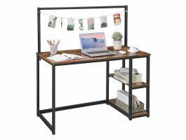 Bureau vintage - 120 cm - 2 étagères - avec barre d'accroche - noir/brun vintage