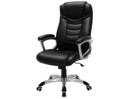Chaise de bureau design de luxe - cuir artificiel - robuste - noir