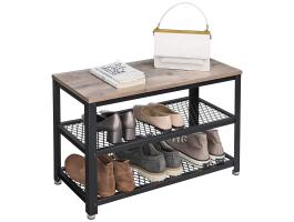 Meuble à chaussures - look industriel - 73x45x30 cm - noir/grège