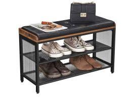 Schoenenrek - met kussen in kunstleer - 80x48x30 cm - bruin/zwart
