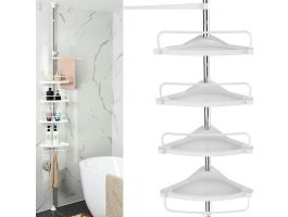 Support de douche pratique avec 4 étagères - 3 crochets 1 porte-serviette - blanc