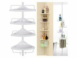 Support de douche pratique avec 4 étagères - blanc