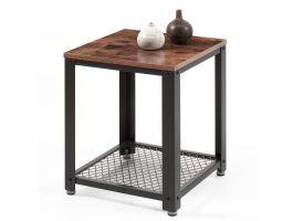 Table d'appoint carrée - 45x55x45 cm - noir/brun vintage