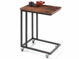 Table d'appoint - avec roulettes - look vintage - 50x62x35 cm - brun/noir