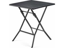 Table carrée - pour l'extérieur - aspect bois - 62x62x73 cm - noir