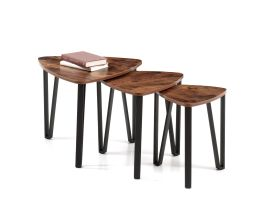 Set de 3 tables d'appoint - look vintage - maximum 58,6x45 cm - brun/noir