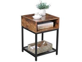 Table carrée - compartiment ouvert - étagère en filet - 40x58x40 cm - brun foncé vintage