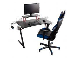 Bureau gamer - avec accessoires - pieds métallique - 108x70x60 cm - noir/rouge