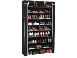 Meuble à chaussures - 40 paires de chaussures - 88x160x28 cm - noir/blanc