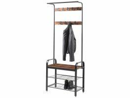 Porte-manteaux - vintage - 9 crochets - 72 cm - 72x183x34 cm - brun/noir