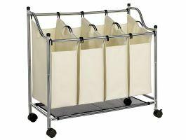 Panier à linge mobile - 4 compartiments de 35 litres - 87x81x38 cm - crème